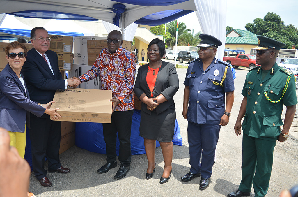 Official handover ceremony for the WAPIS Extension in Ghana. From Left to right: European Union Ambassador in Ghana, the INTERPOL Executive Director for Partnerships and Planning and the Minister of Interior