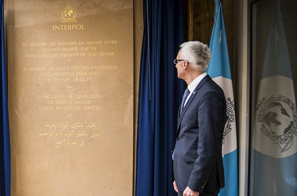 Secretary General Jürgen Stock at the unveiling of the INTERPOL police memorial plaque in Lyon.