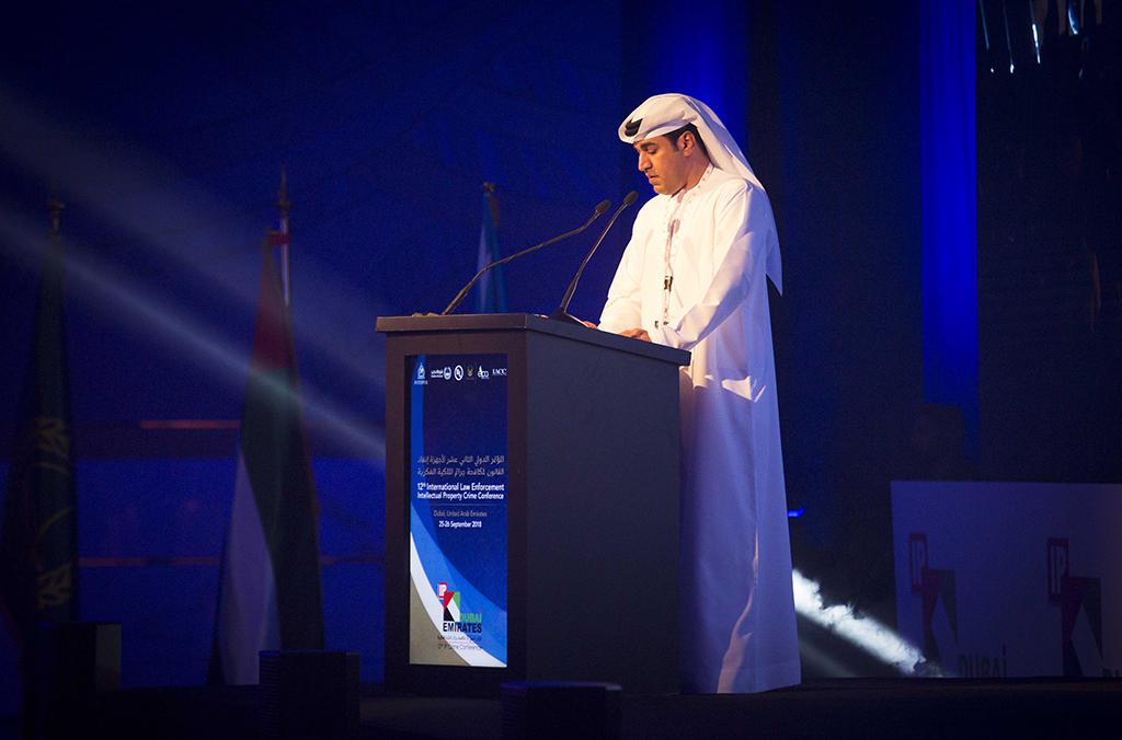 Le Chef du Desk Coordination pour le Moyen-Orient et l'Afrique du Nord d'INTERPOL, Abdulaziz Obaidalla, a pris la parole lors de la 12ème Conférence internationale annuelle sur la répression des atteintes à la propriété intellectuelle.