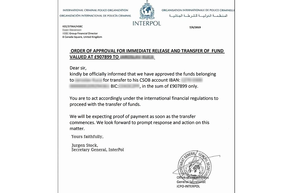 An example of a scam letter using INTERPOL's name.