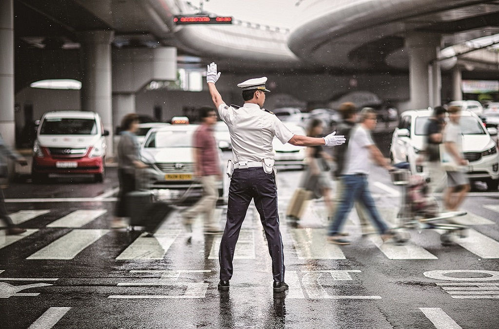 Korean police directing traffic