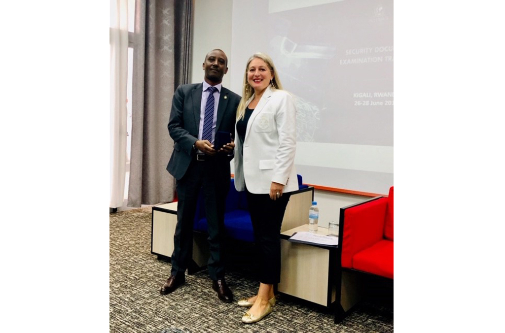INTERPOL Coordinator of the Counterfeit Currency and Security Documents Branch, Daniela Djidrovska, with the Head of the INTERPOL National Central Bureau in Kigali, Jean de Dieu Gatabazi.