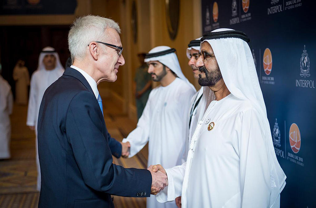 UAE Vice President, Prime Minister and Ruler of Dubai His Highness Sheikh Mohammed bin Rashid Al Maktoum greeting INTERPOL Secretary General Jürgen Stock.
