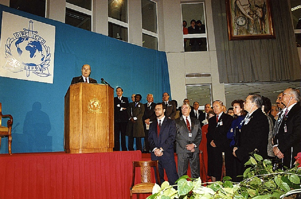 French President François Mitterrand inaugurated INTERPOL's new headquarters in Lyon, France on 27 November 1989.