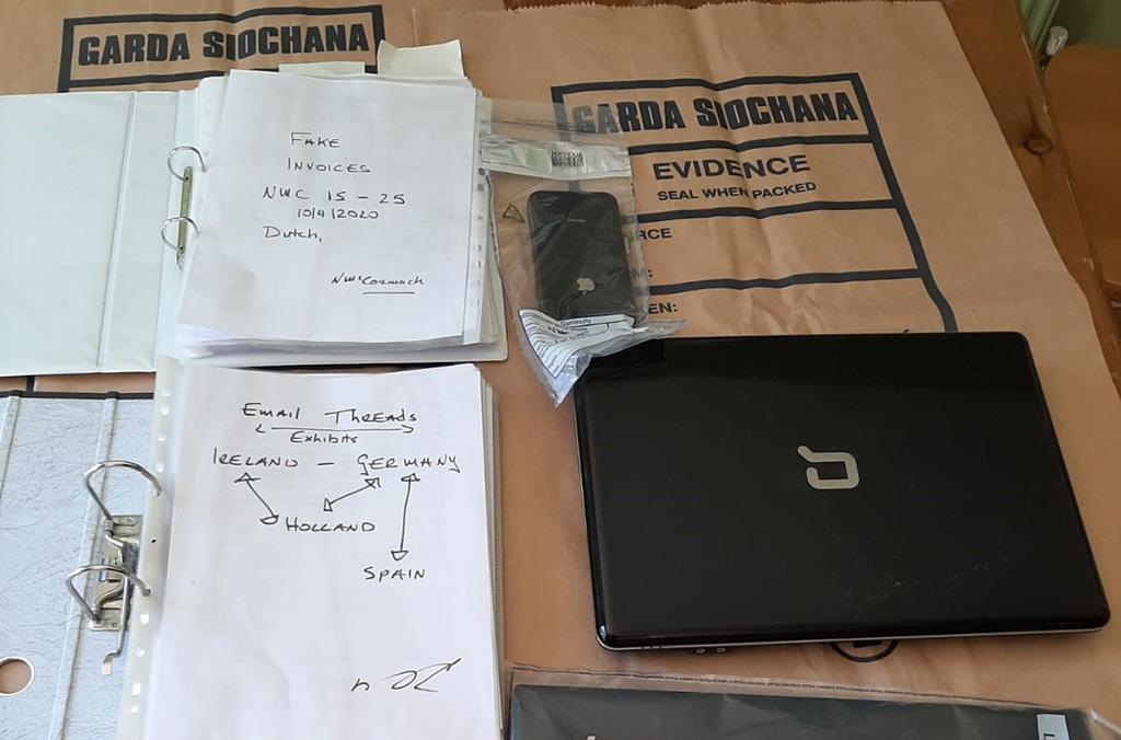 Evidence seized by the Garda National Economic Crime Bureau