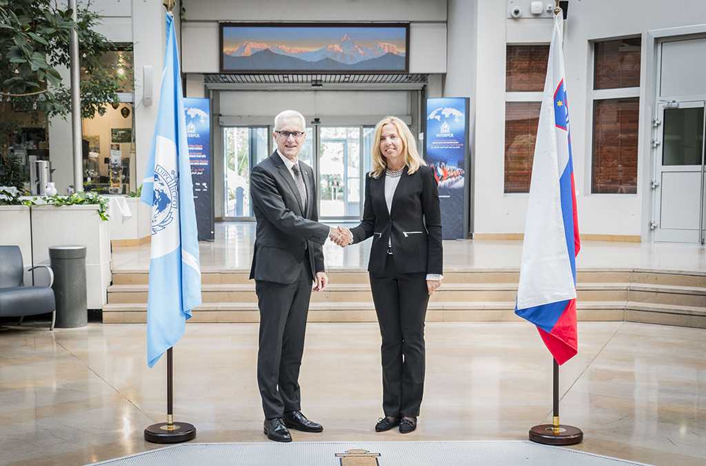 INTERPOL Secretary General Jürgen Stock with Slovenia Director General of the Police Tatjana Bobnar