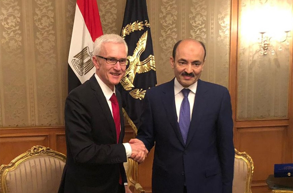 Head of INTERPOL, Secretary General Jürgen Stock met with Egypt's Deputy Minister of Interior and Director of Public Security Major General Alaa el Din Selim.