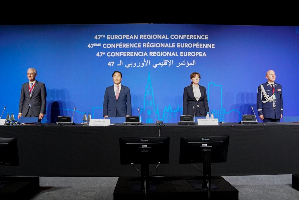 (l –r) INTERPOL Secretary General Jürgen Stock, INTERPOL President Kim Jong Yang, Poland's Under Secretary of State Renata Szczęch and Commander in Chief of the Polish National Police Jarosław Szymczyk at the INTERPOL European Regional Conference.