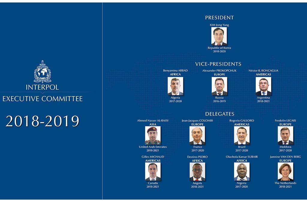 Composition du Comité exécutif d'INTERPOL 2018-2019