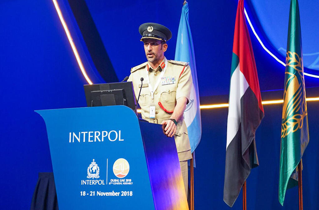 The Commander in Chief of the Dubai Police addressing the 87th General Assembly.