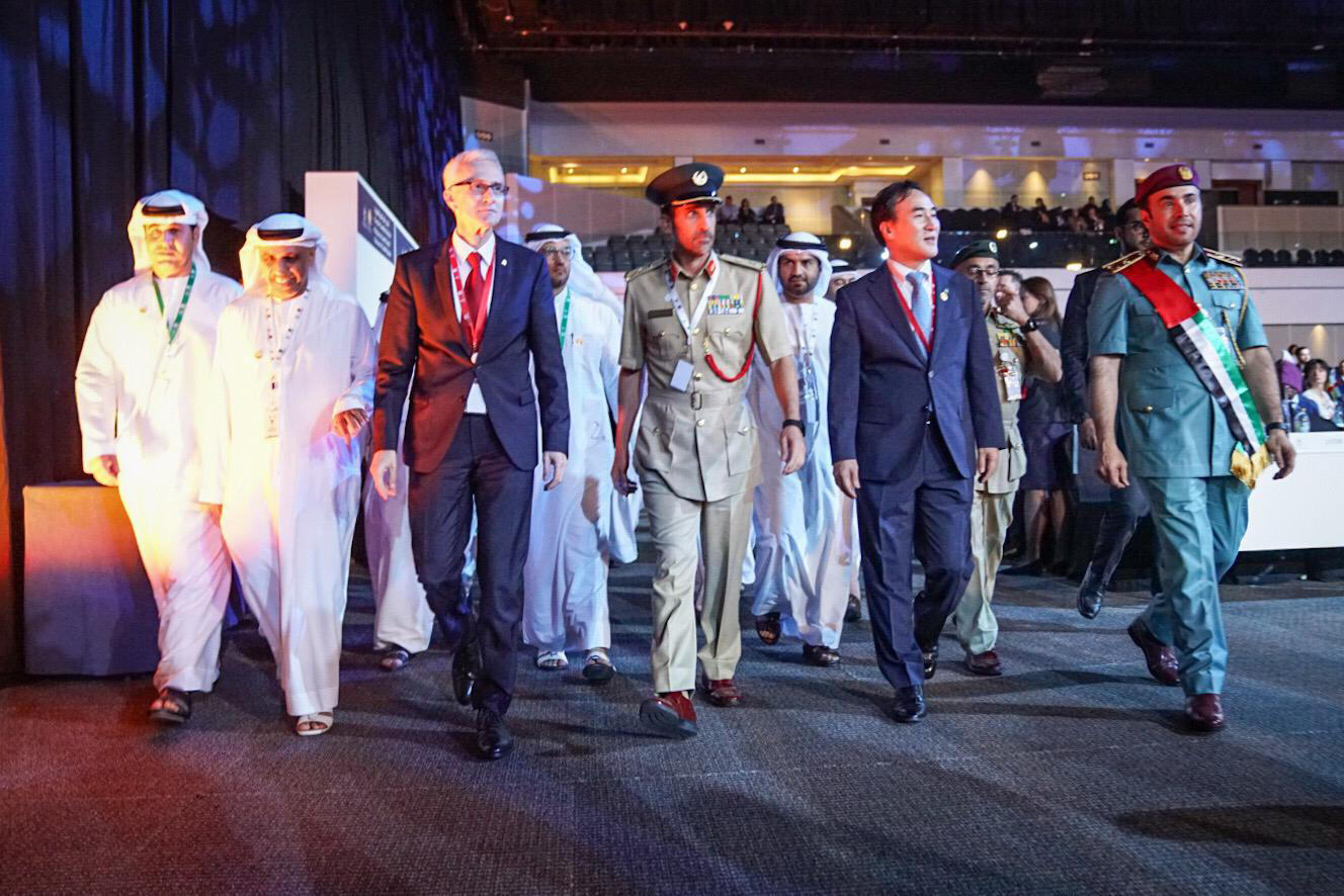 INTERPOL's Secretary General and President with UAE dignitaries.