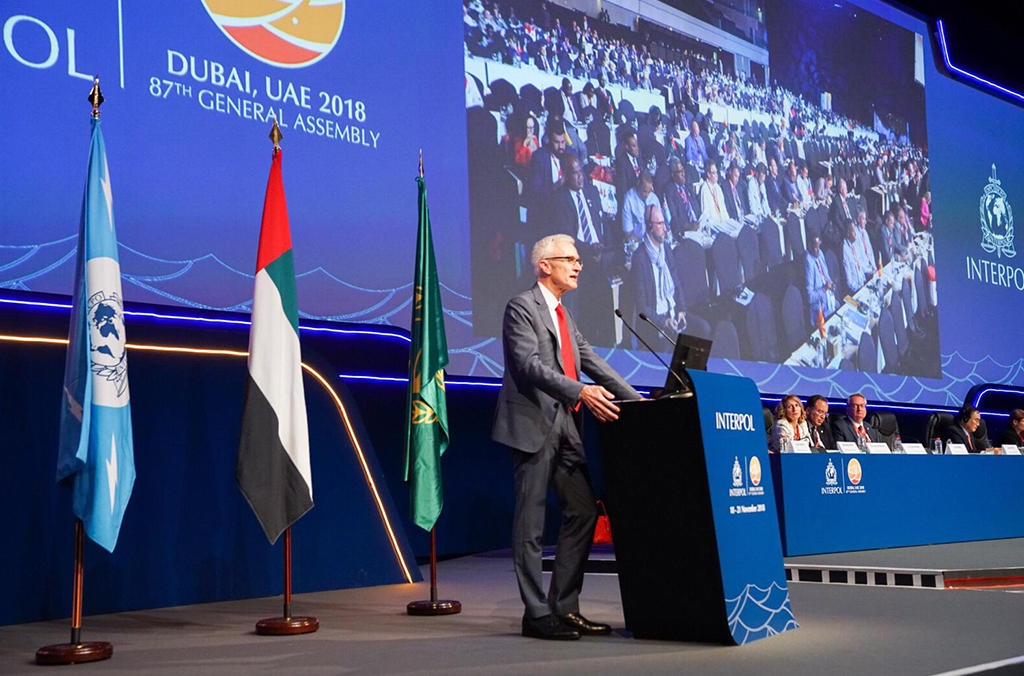 Secretary General Jürgen Stock addresses the 87th General Assembly in Dubai.