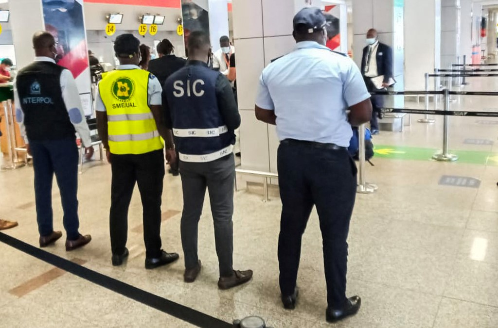 Law enforcement officers in Angola carried out airport checks.