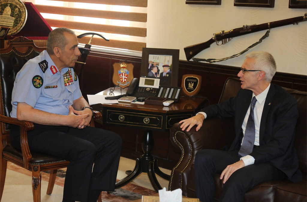 On his first official mission to Jordan, Secretary General Stock discussed regional and global crime threats with the Director of Public Security Major General Fadel Mohammed Abdallah Al Humoud.