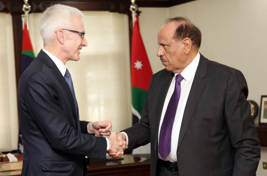 SG and Jordan Minister 2 - INTERPOL Secretary General Jürgen Stock with Jordan's Minister of the Interior Salamah Hammad Al Sahaim.