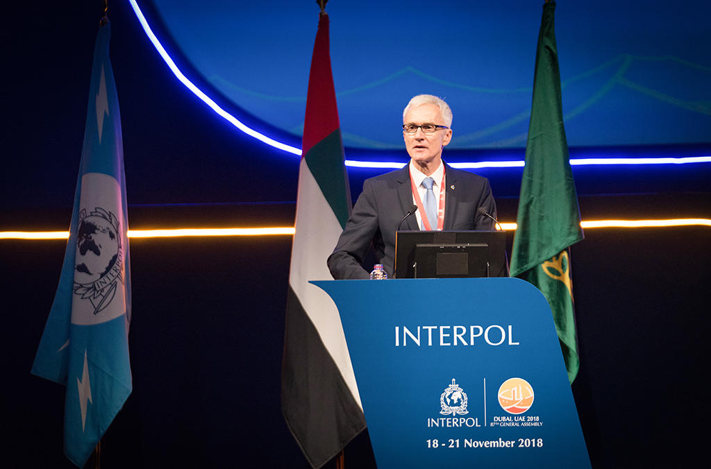 INTERPOL Secretary General Jürgen Stock addresses the 87th INTERPOL General Assembly in Dubai.