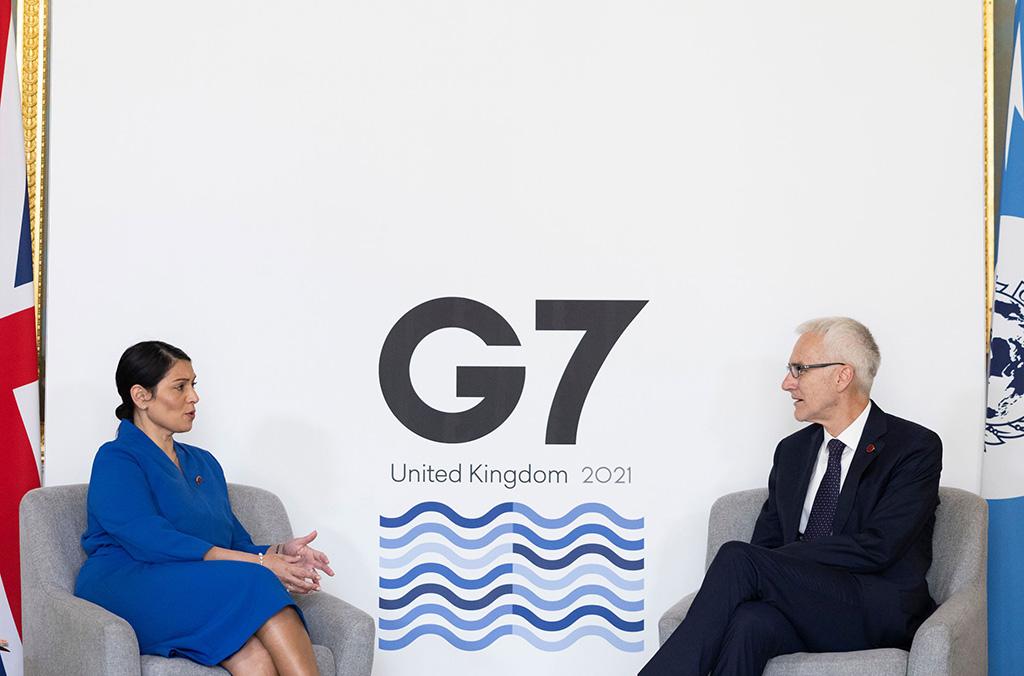 INTERPOL Secretary General Jürgen Stock and UK Home Secretary Priti Patel during the G7 Ministerial meeting in London.
