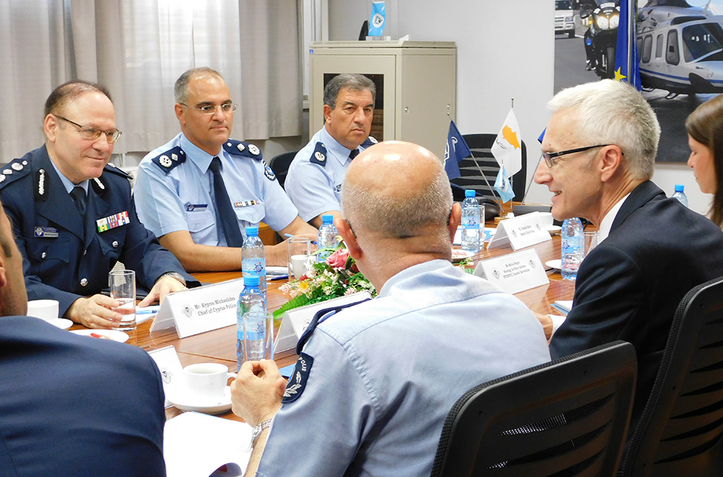 Secretary General Stock met with the Chief of Police, Kypros Michaelides and Deputy Chief of Police Stylianos Papatheodorou during his first mission to Cyprus.