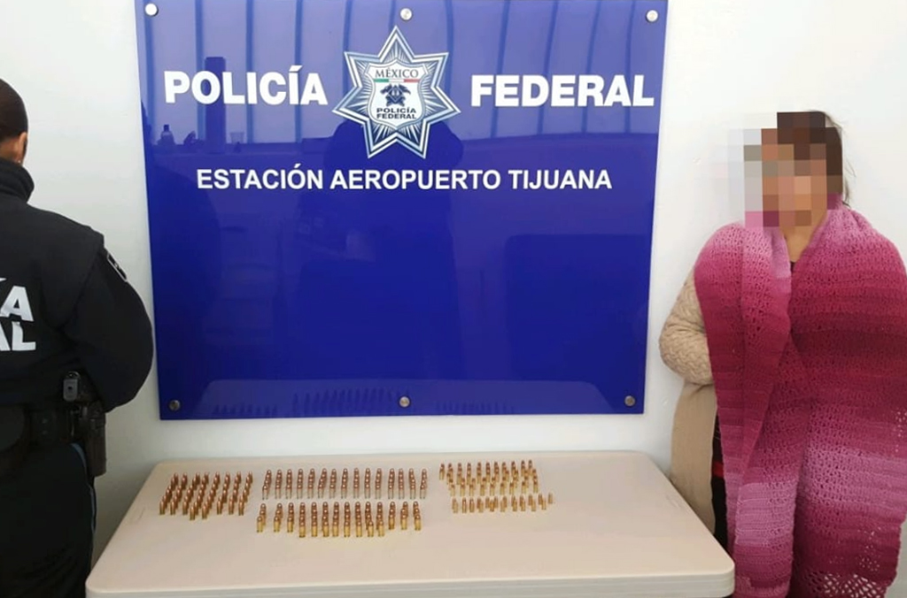 A woman was caught trying to smuggle bullets at the airport in Tijuana.