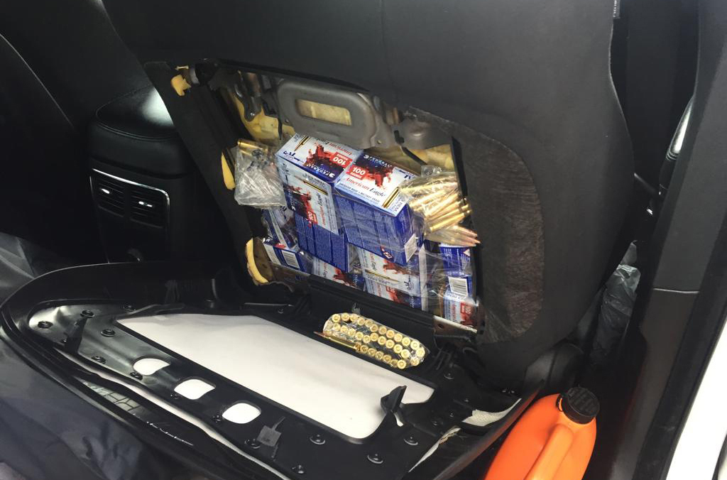 Mexican authorities on the US-Mexico border found bullets hidden in the back of car seats.