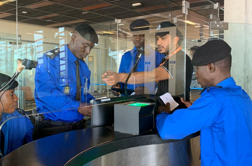During Operation Horonya, officers carried out checks at the international airport in Bamako, screening passengers' passports against a range of INTERPOL's databases.