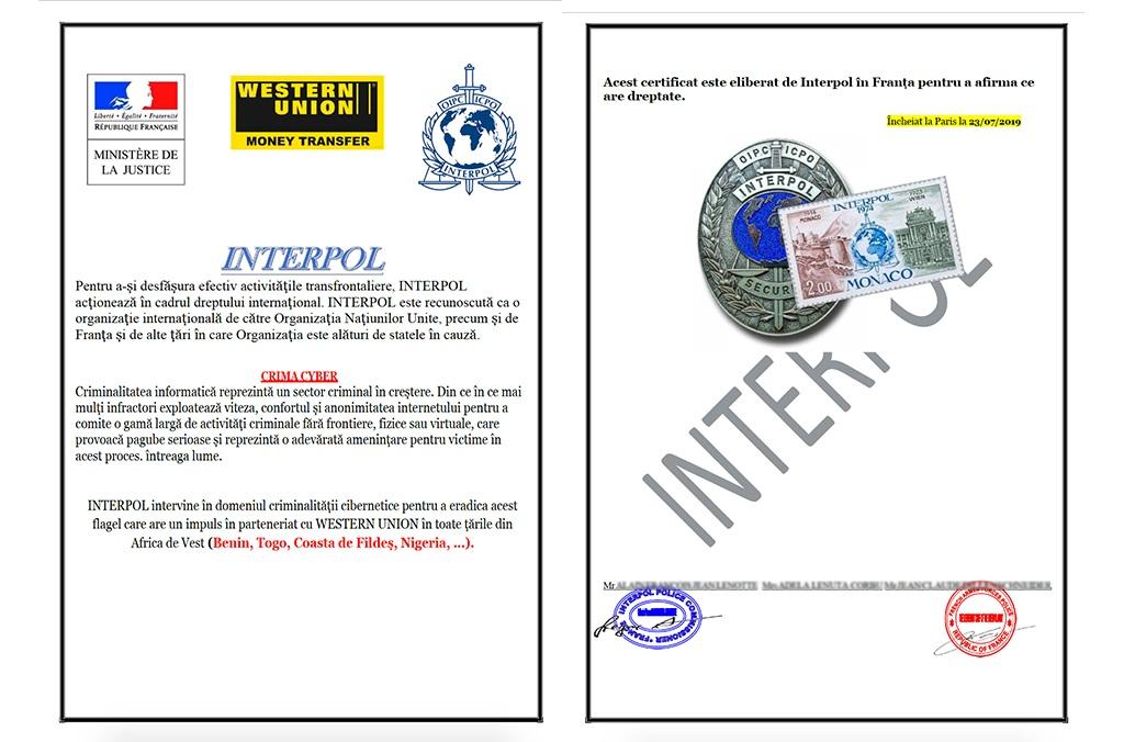 interpol mai us demanarà la vostra identitat de dades i mai exigirà diners. Si us donen les coordenades d'un compte bancari demanant-vos que transferiu diners, no responeu i informeu del missatge.