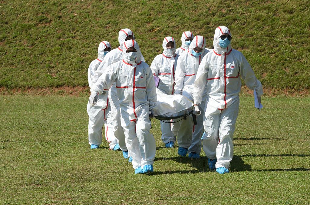 Exercice de terrain durant la formation à l'identification des victimes de catastrophes (IVC) organisée à Sri Lanka (décembre 2018)