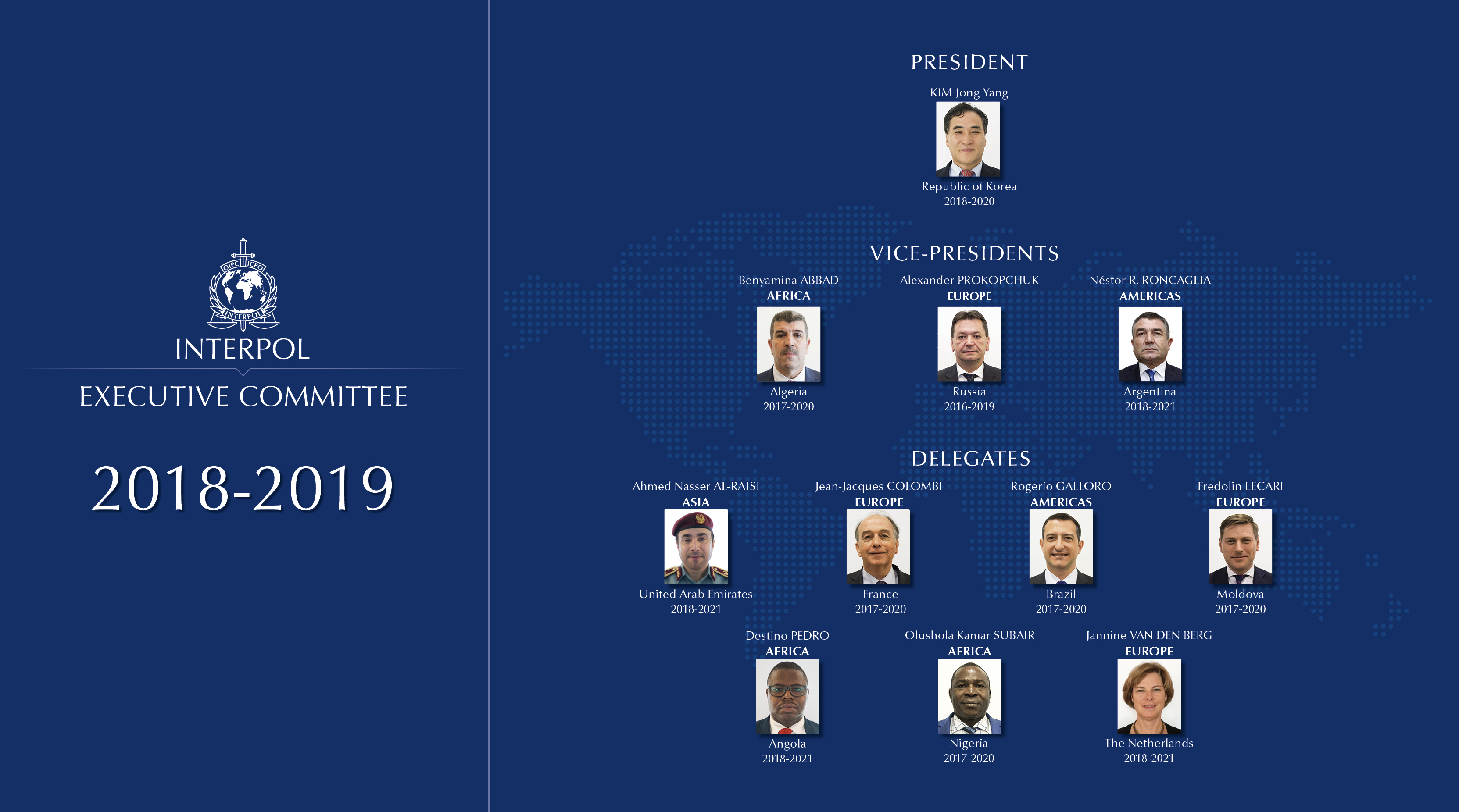 INTERPOL Executive Committee members 2019
