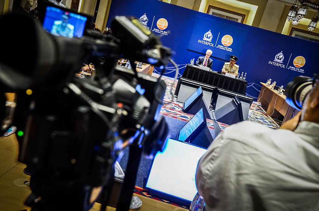 INTERPOL's Secretary General and Dubai's Police Chief host a press conference at the 87th General Assembly.