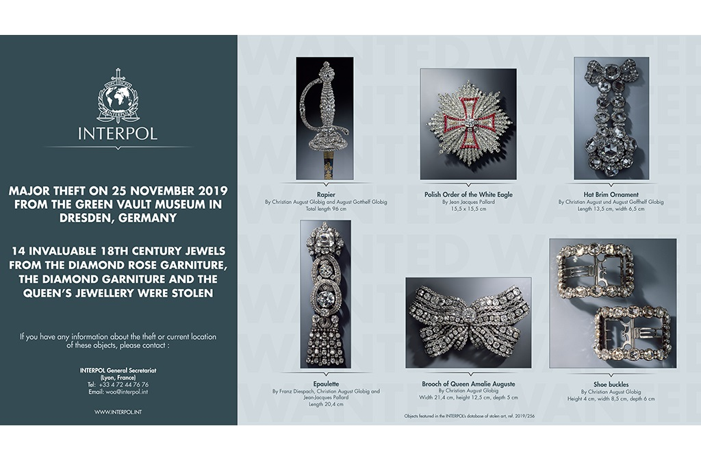 Major jewellery theft from the Green Vault Museum in Dresden, Germany - Wanted works of art