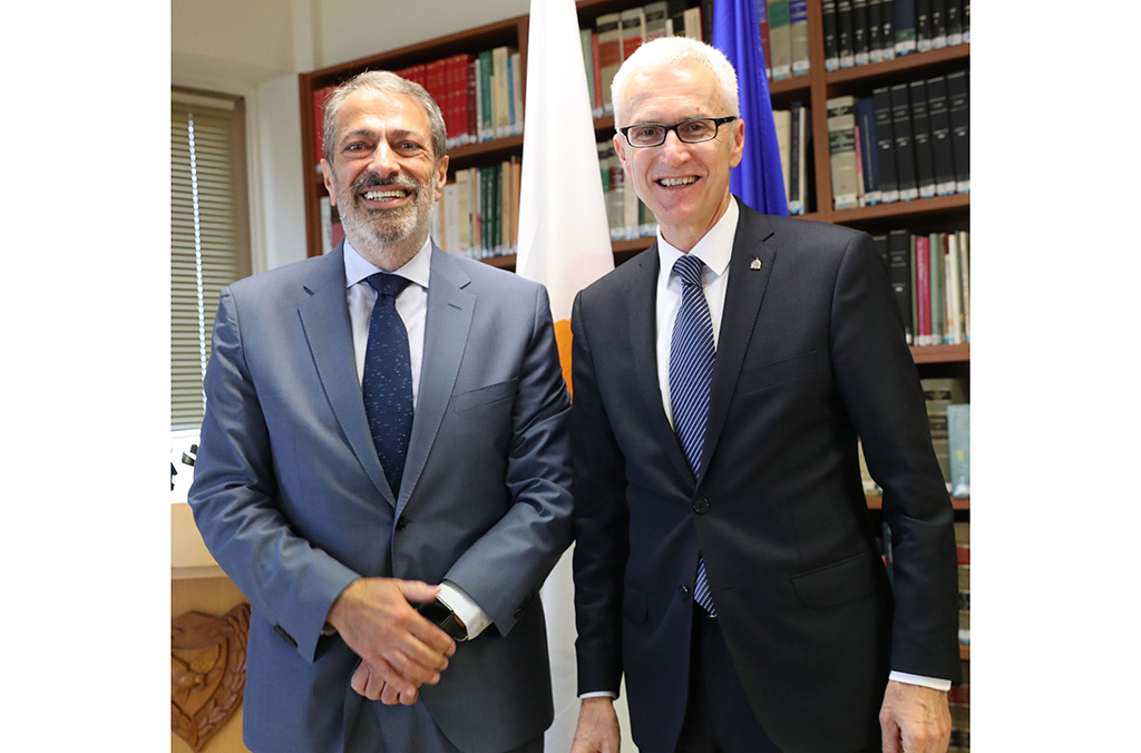 INTERPOL Secretary General Jürgen Stock and Cyprus Minister of Justice and Public Order, George Savvides