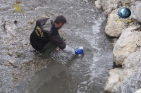 The operation focused on illegal discharges at sea, in rivers, or in coastal areas, such as here in Spain where the Guardia Civil takes samples from local waterways