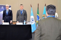 Opening ceremony: Maurício Valeixo Director General of the Brazilian Federal Police (right) and INTERPOL Secretary General Jürgen Stock.