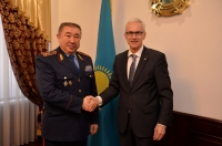 Secretary General Jürgen Stock and Minister of Internal Affairs Turgumbaev Yerlan Zamanbekovich discussed security issues, particularly in relation to combating terrorism, organized crime and drug trafficking.