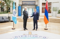 INTERPOL Secretary General Jürgen Stock welcomed Armenia's Chief of Police Valeriy Osipyan to the General Secretariat headquarters.